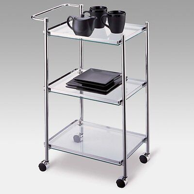 Rectangular Serving Cart with Shelf Railing, Chrome
