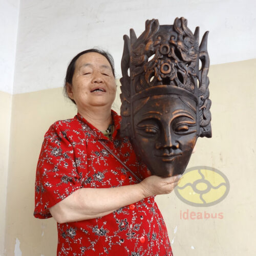 """Chinese Wood Carved Painted NUO MASK Walldecor Art - The God of Land 16.5x10"""""""