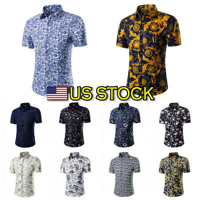 Men Holiday Beach Stag Fancy Suit  Flower Printed Mens Hawaiian Shirt US SHIP US](Hawaiian Suit)