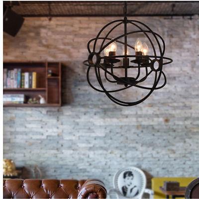 Rustic Metal Light Fixture Chandelier Bronze Orb Globe 3 Lights Hanging Lamp New