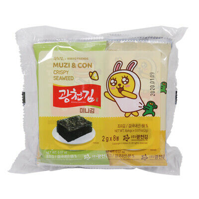 Korean Roasted Seaweed Gwangchun Gim Kakao Friends 2g x 8 Canola Oil Roasted