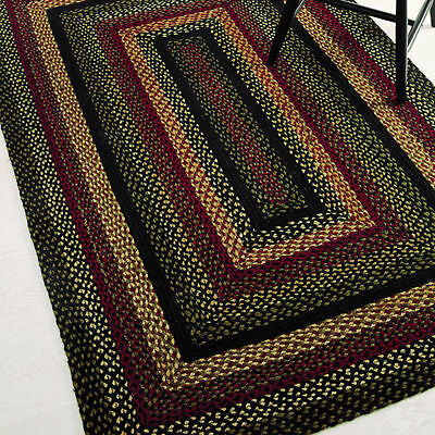 Primitive Braided Area Rug Rectangle Jute 5'x8' IHF Tartan Black Red Green - Cream Green Rectangle Rug