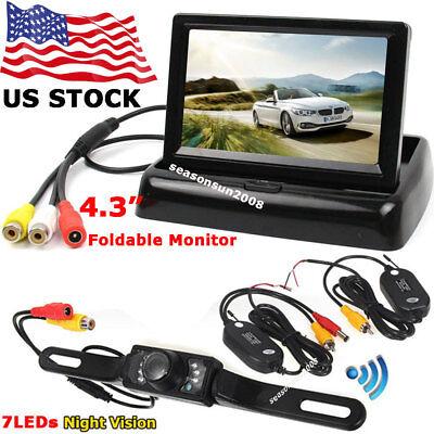 "Foldable 4.3"" LCD Monitor +Wireless IR Rear View Parking Reversing Backup Camera"