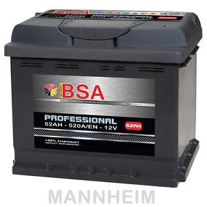 bsa autobatterie 52ah 12v extrem leistungsstark 520a en. Black Bedroom Furniture Sets. Home Design Ideas