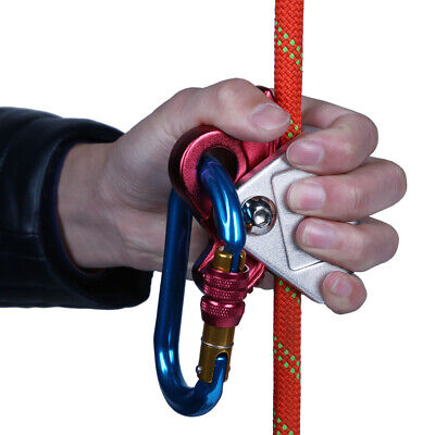 Auto Lock Rope Pulley Grab Adjuster Rock Climbing Rigging Descending Red