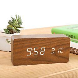 USB Modern Wooden Digital LED Desk Alarm Clock Calendar Timer Thermometer NEW