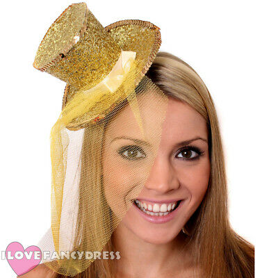 GOLD MINI GLITTER TOP HAT HEADBAND VEIL LADIES BURLESQUE PARTY FANCY DRESS