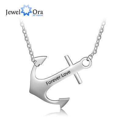 Personalized Anchor Pendant Necklace 925 Sterling Silver DIY Name Chain Gifts - Anchor Gifts