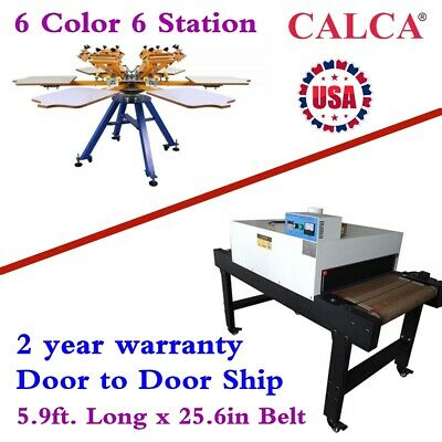 6 Color Manual Screen Printing Machine Conveyor Tunnel Dryer 5.9ft X 25.6in