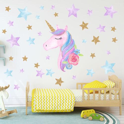 Cute Unicorn Hearts Stars Wall Stickers Kids Girls Home Bedroom