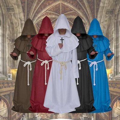 Hooded Monk Priest Robe Wicca Robe Halloween Cosplay Costume (Hooded Monk Robe)