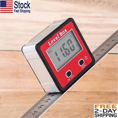 Lcd Digital Protractor Angle Finder Bevel Level Box Inclinometer Meter Backlight