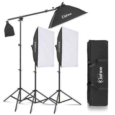 Kshioe Photo Studio 3 SoftBox LED Light Stand Lighting Kit Photography -