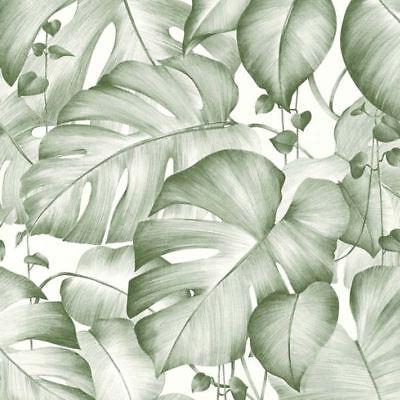 Livingwalls Jungle Floral Leaf Vinyl Non Woven Wallpaper White Green Colibri (Jungle Vinyl Wallpaper)