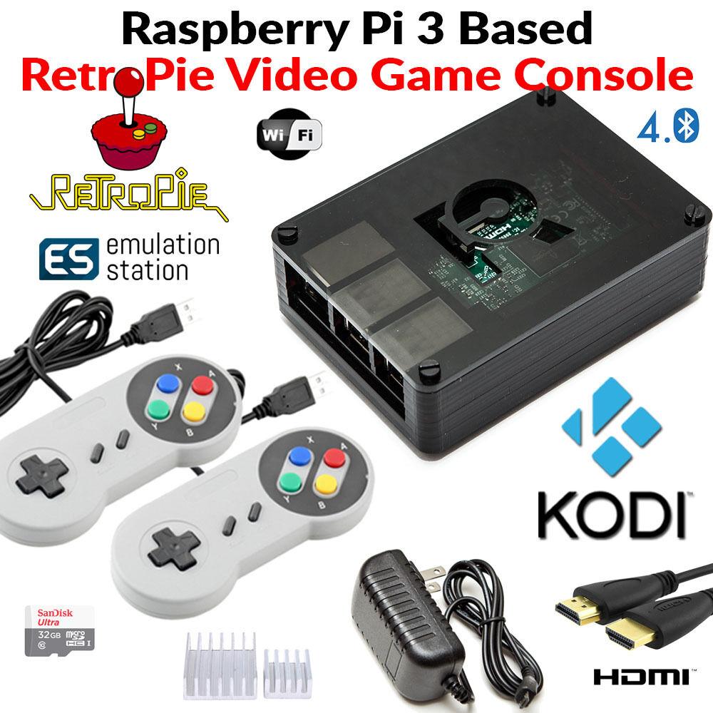 Raspberry Pi 3 RetroPie Emulation Console - 32GB - Two SNES Controllers - Kodi