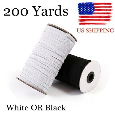 White Black 200 Yard Elastic Band Rope Rubber Tape Ear Hanging Ropes US SHIPPING