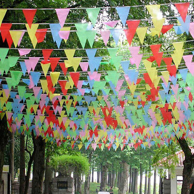 Multicolor Triangle Flag 80M Bunting Banner Pennant Festival Wedding Supply GP3