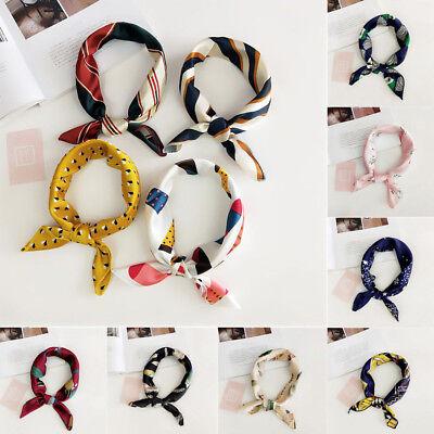 Elegant Women Square Silk Satin Scarf Bandanas Hair Tie Head Band Hair Accessory