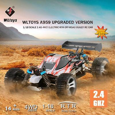 USA Wltoys A959 Upgraded Version 1/18 2.4G 4WD RTR Off-Road Buggy RC Car Gift