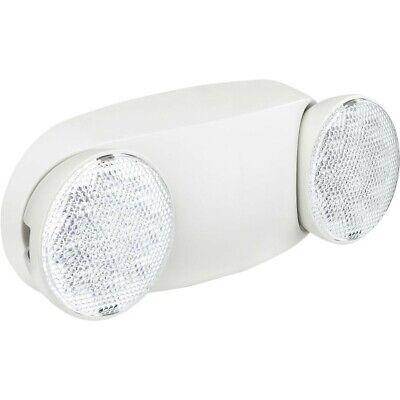 Global 2 Head Round Led Emergency Light W Adjustable Optics Ni-cad Battery Back