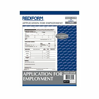 Rediform Application For Employment 8.5 X 11 Inches 50-forms Per Pad M660-26n