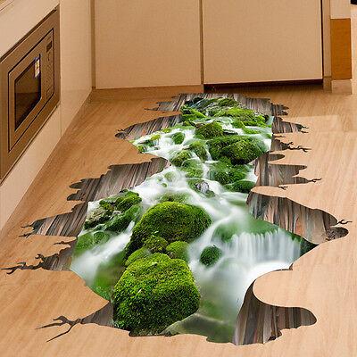 3D Stream Floor Wall Sticker Removable Mural Decals Vinyl Art Living Room Decor