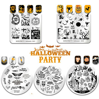 Pretty Halloween Nails (5Pcs BORN PRETTY Nail Art Image Stamping Plates Halloween Theme Image)