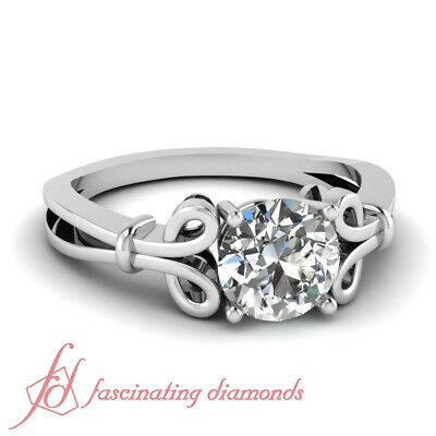 Solitaire Bow Pattern Engagement Ring 1 CARAT Round Cut Diamond GIA Certified