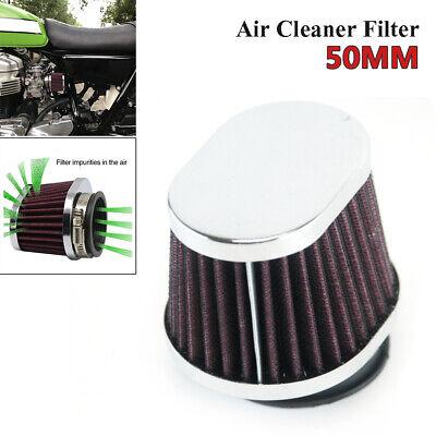 50MM Motorcycle Bikes Carburetor Air Filter Clamp Pod Cleaner Elliptical Intake