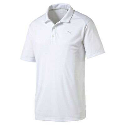 Puma Golf Mens Polo Shirt Pounce DryCell Short Sleeve UV Protection White Top
