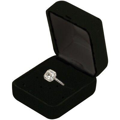 Black Velvet Ring Earring Box Proposal Engagement Pocket Super Fast Shipping USA
