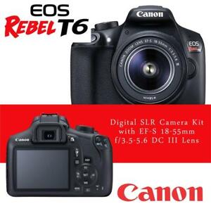 NEW Canon EOS Rebel T6 Digital SLR Camera Kit with EF-S 18-55mm f/3.5-5.6 DC III Lens Condtion: New, 18-55mm DC Lens ...