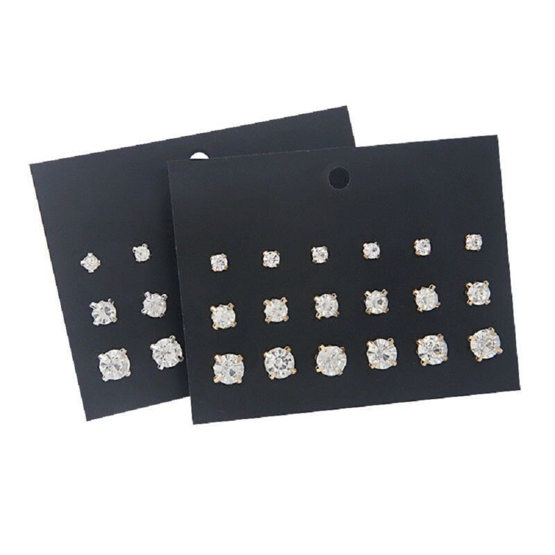9Pairs Earrings Punk Pack Mixed Stud Earring For Women Cryst
