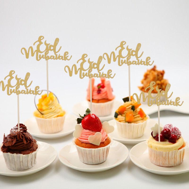 Eid Mubarak Ramadan Gold Glitter Cake Toppers Hajj Mubarak DIY Cake Decor Topper