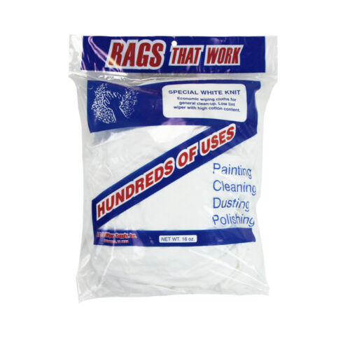 Bulk Pack of White Knit T-Shirt Cleaning Rags - 1 Pound Bag