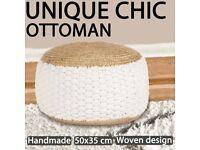 Woven/Knitted Pouffe Jute Cotton 50x35 cm White-245095