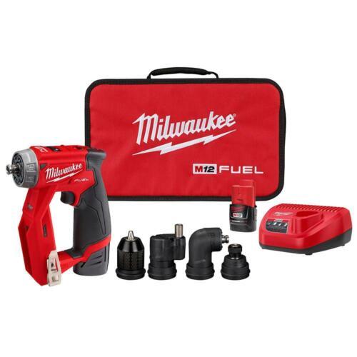 "Milwaukee M12 FUEL Brushless Cordless 3/8"" Drill Driver Kit 4 Tool Head 2505-22"