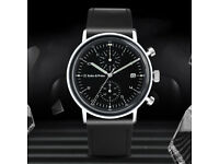 Keller & Weber Mens Chronograph Watch Bauhaus Minimalist Junghans Junkers Homage