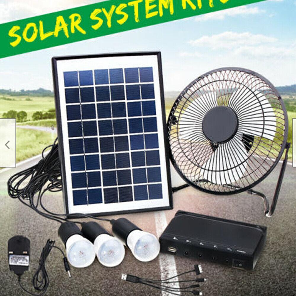 Solar Power Panel Generator Energy Storage USB Charger System Kit+3 LED Light US