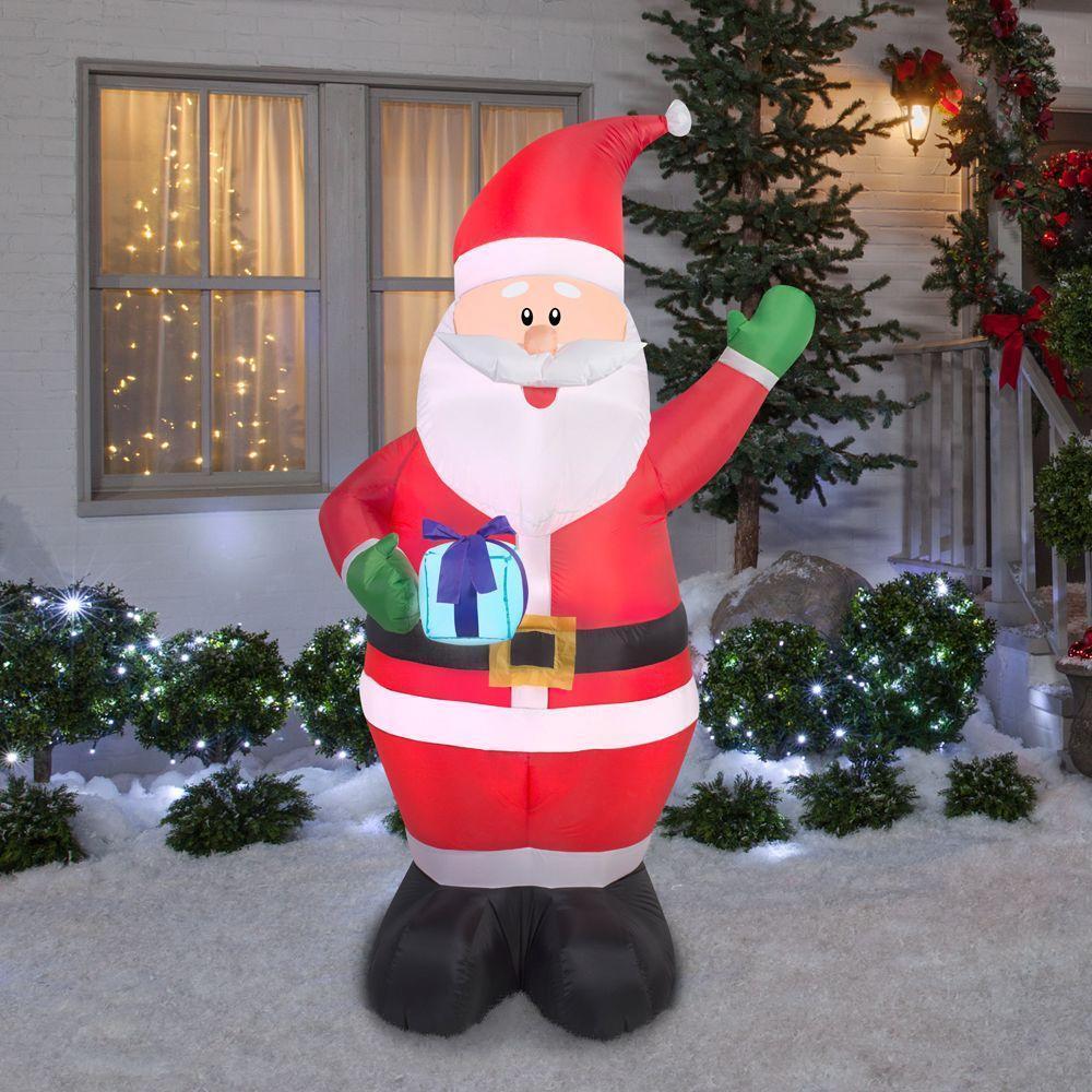 6.5' Santa W/ Presents Christmas Inflatable - Airblown Holiday Santa Claus