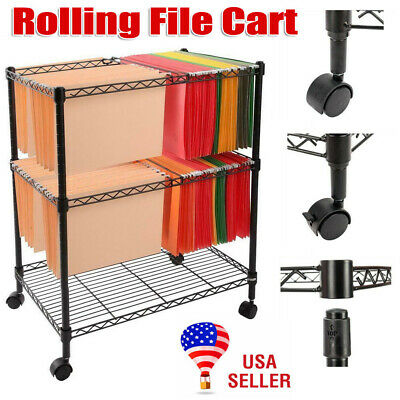 Portable 2-tier Metal Rolling Mobile File Cart For Letter Size Office Supplies