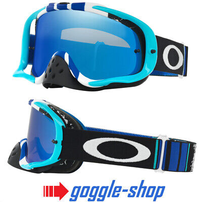 OAKLEY CROWBAR MOTOCROSS MX GOGGLES - PINNED RACE BLUE WHITE / BLACK ICE (Blue Oakley Goggles)