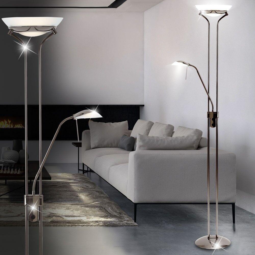 Deckenfluter mit Leselampe Chrom Glas satiniert Stehlampe H 184 cm Standleuchte
