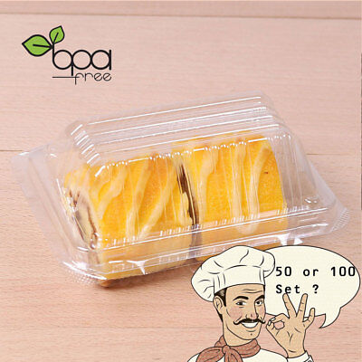 50/100set Rectangle Take Out Clear Lid Plastic Cake Box Container DD](Takeout Box)