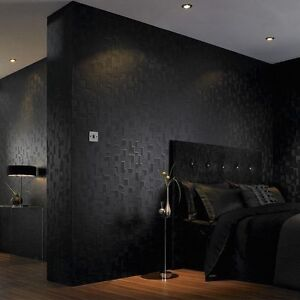 Black Textured Wallpaper Checkered Geometric 3-D Pattern 56 Square Foot Roll S