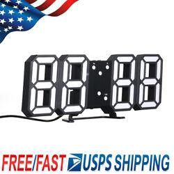 Digital 3D LED Big Wall Desk Alarm Clock Snooze Timer 12/24 Hours USB Decor J9S5
