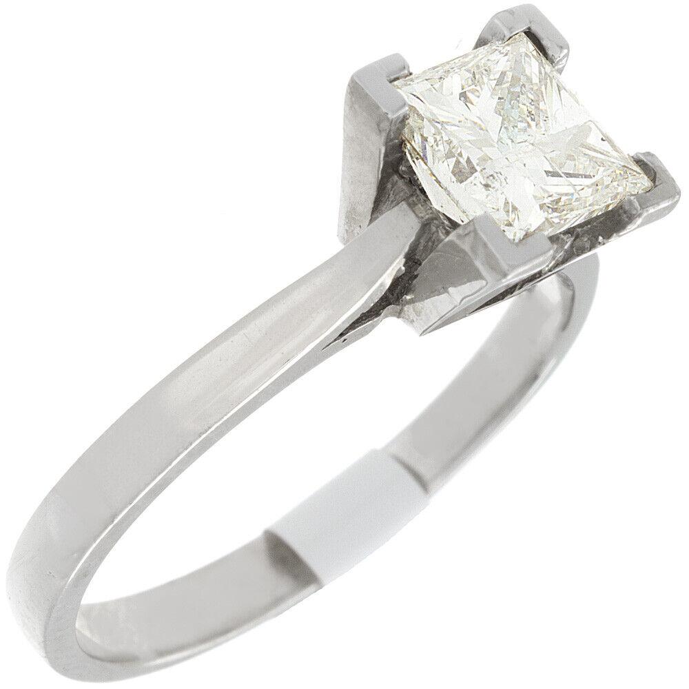 GIA Certified Diamond Engagement Solitaire Ring 1 Carat Princess Cut 14k Gold 3