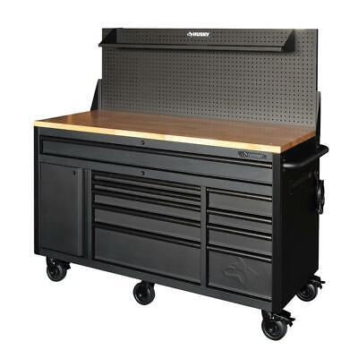 Husky Mobile Workbench 61 in. W 10-Drawer 1-Door Pegboard Shelf Matte Black