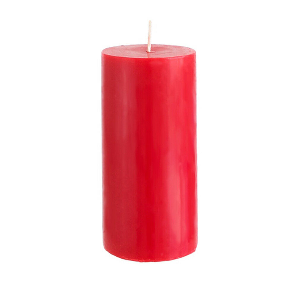 """3"""" x 6"""" Round Unscented Pillar Candle - Red, CASE OF 24"""