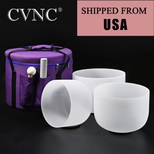 "3 pcs 8""B,10""F,12""G Frosted Chakra Quartz Crystal Singing Bowl Set with Case"
